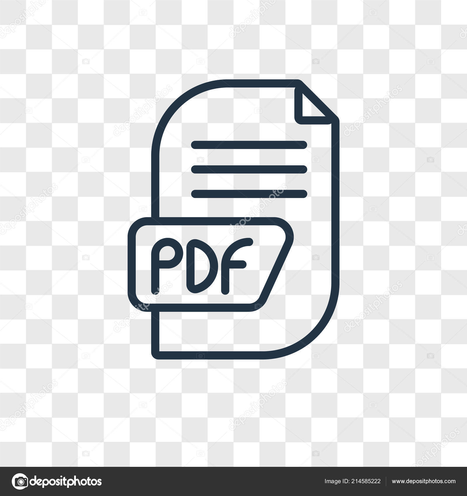 Pdf Vector Icon Isolated Transparent Background Pdf Logo Concept
