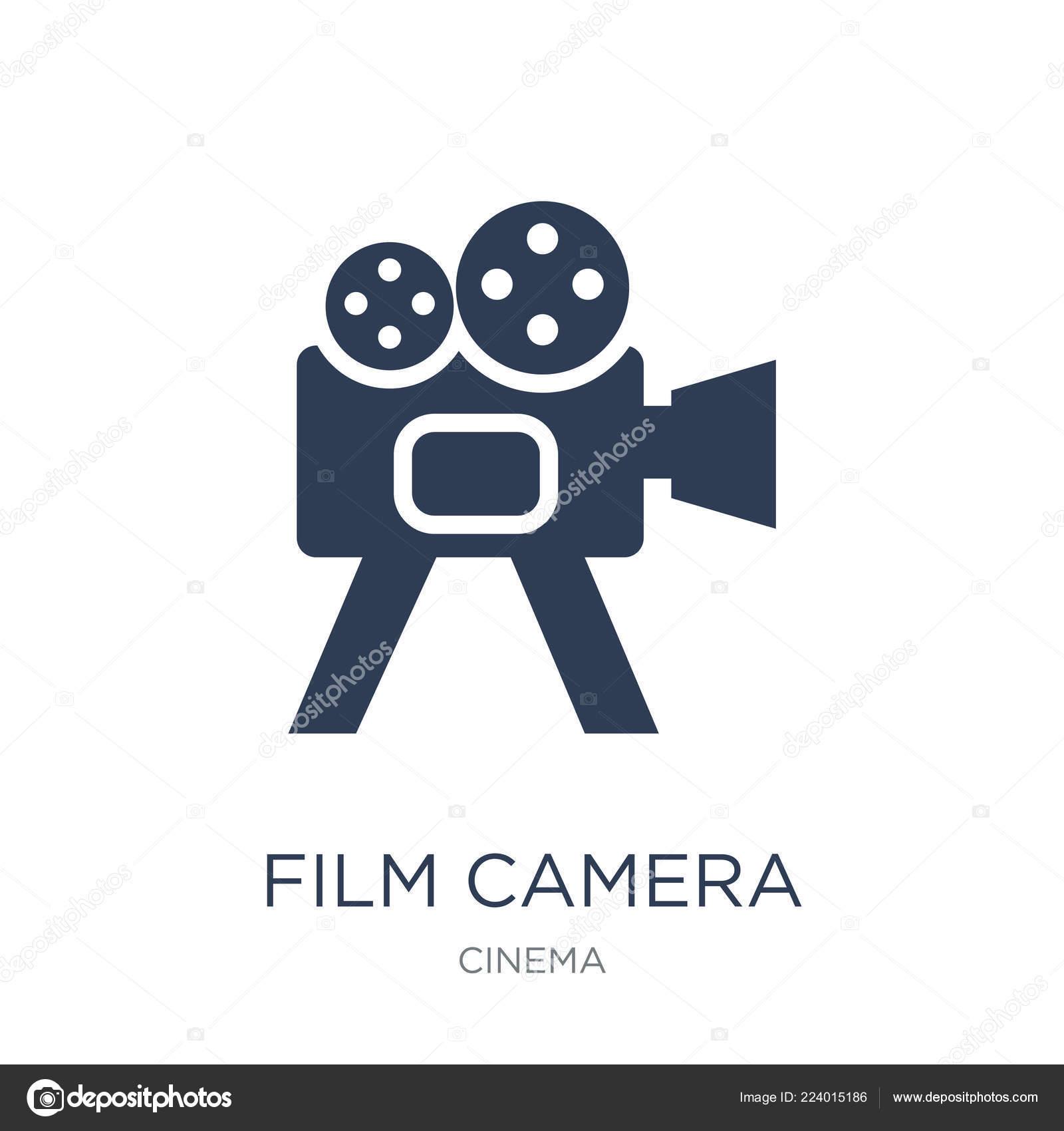 Фильм камеры значок стильный плоский вектор фильм значок камеры.