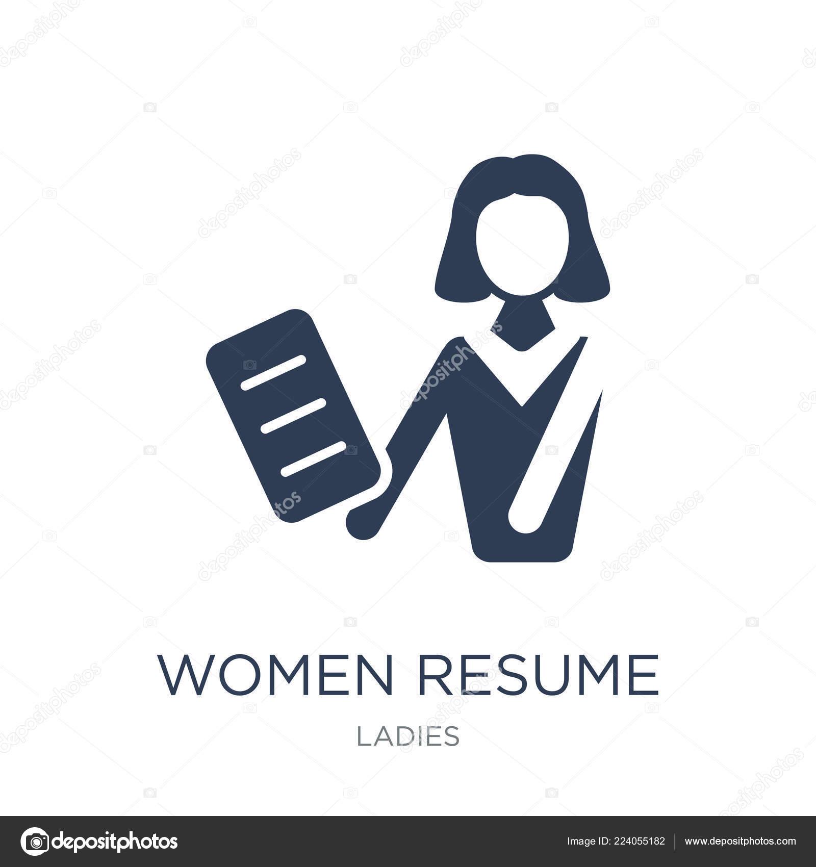women resume icon trendy flat vector women resume icon white — stock