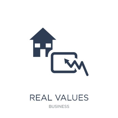 Real values icon. Trendy flat vector Real values icon on white background from business collection, vector illustration can be use for web and mobile, eps10