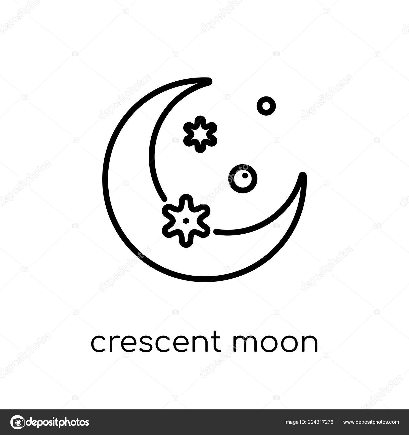 crescent moon icon trendy modern flat linear vector crescent moon stock vector c tvectoricons 224317276 depositphotos