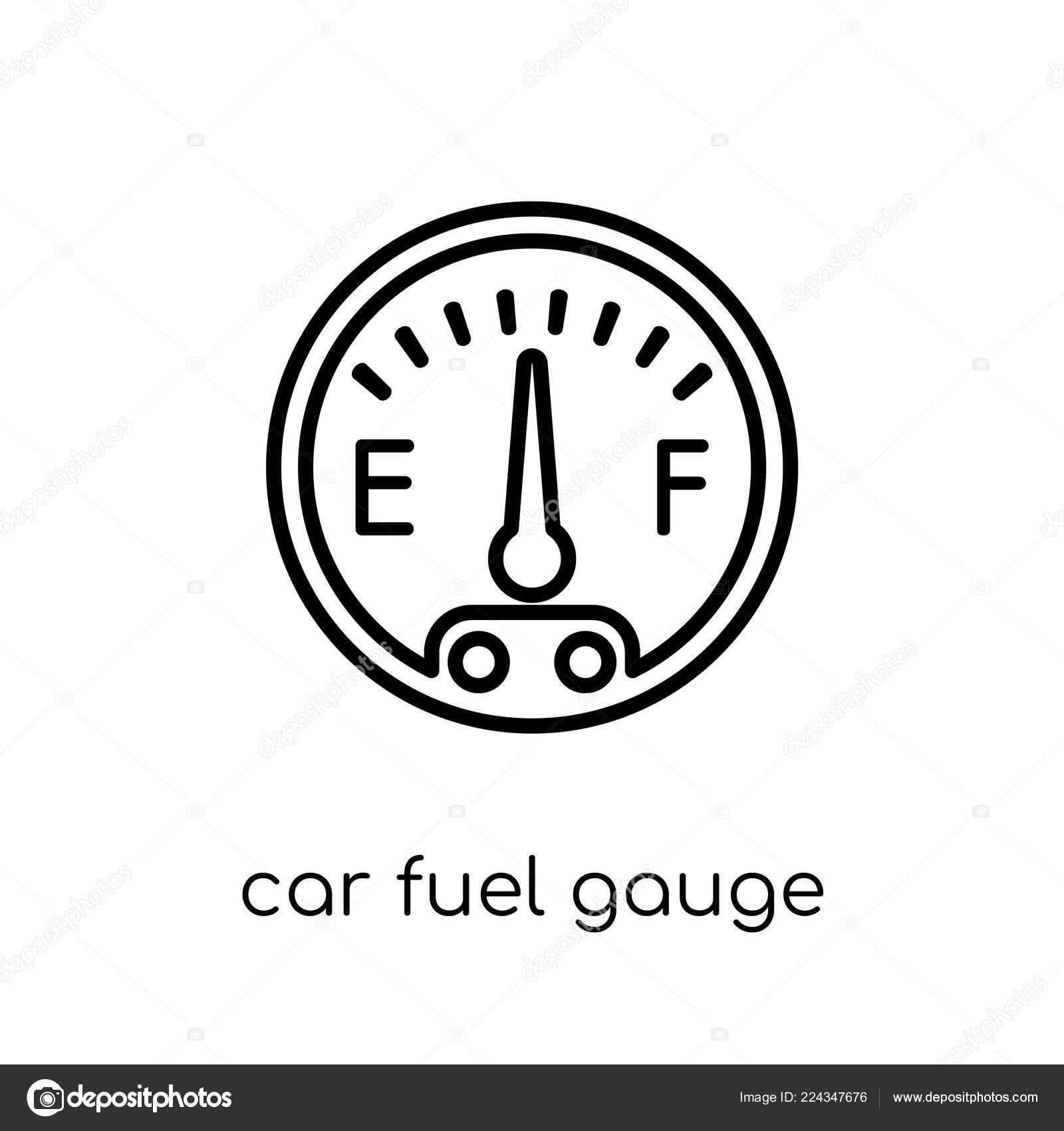 Car Fuel Gauge Icon Trendy Modern Flat Linear Vector Car