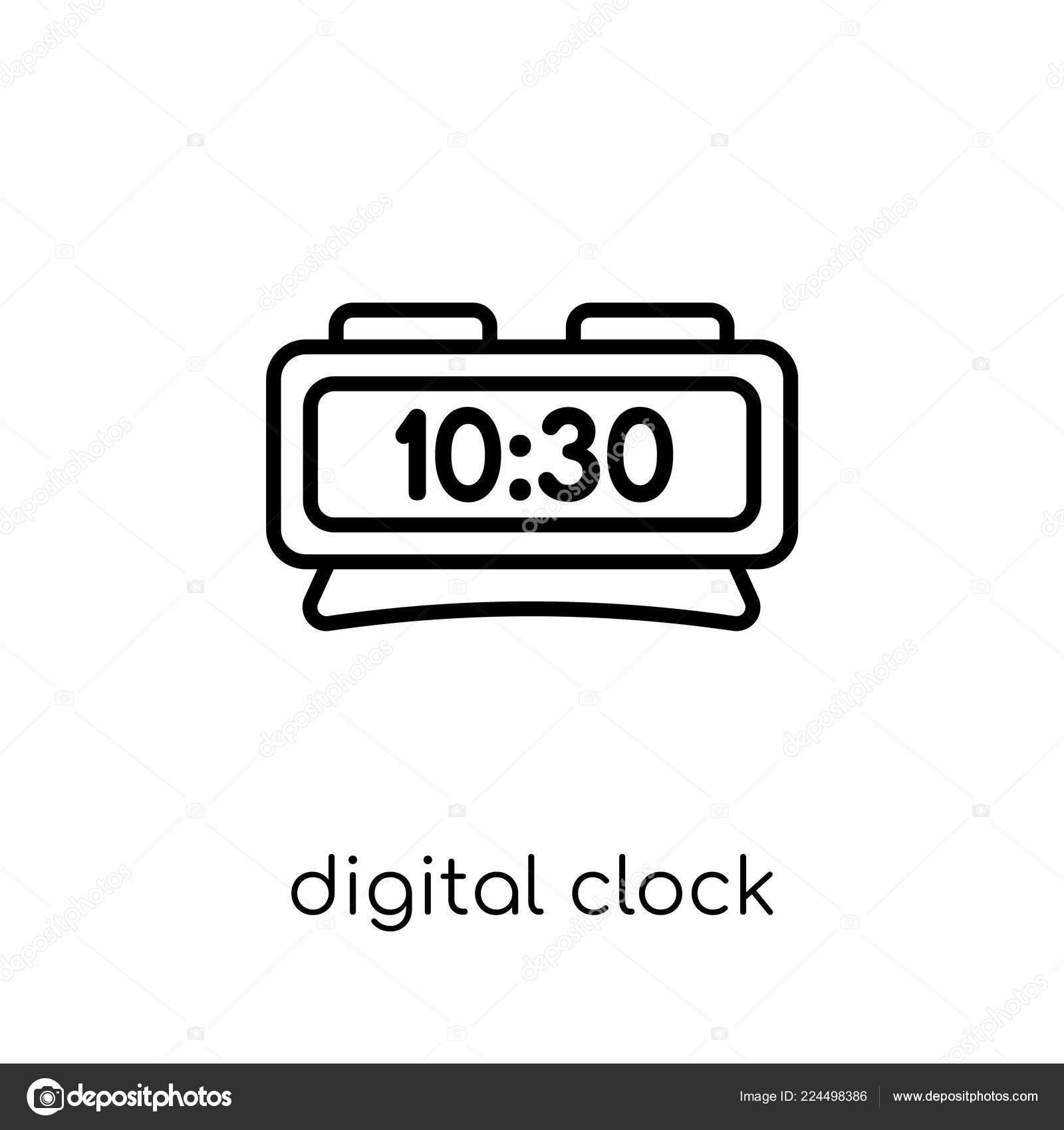 Digital Clock Icon Trendy Modern Flat Linear Vector Digital Clock