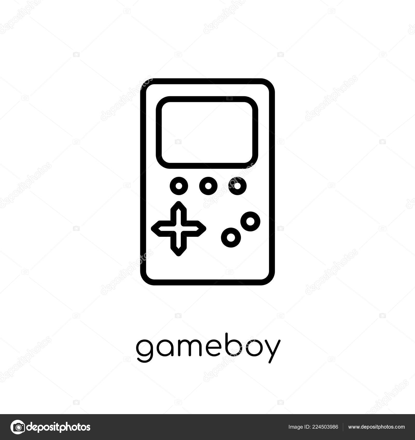 Gameboy Icon Trendy Modern Flat Linear Vector Gameboy Icon White