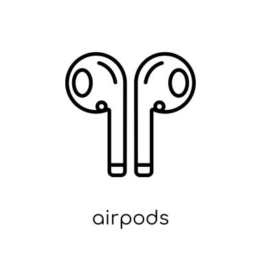 Airpods icon. Trendy modern flat linear vector Airpods icon on white background from thin line Internet Security and Networking collection, editable outline stroke vector illustration