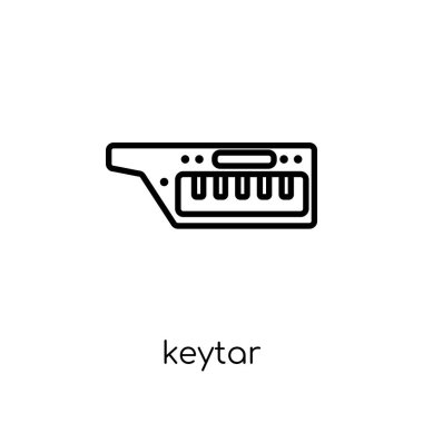 keytar icon. Trendy modern flat linear vector keytar icon on white background from thin line Music collection, outline vector illustration