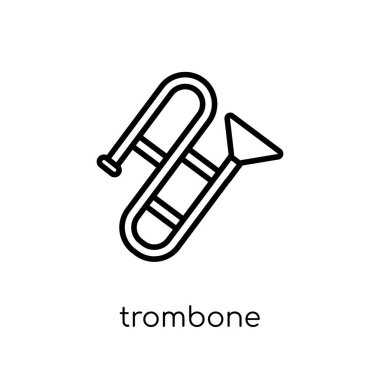 trombone icon. Trendy modern flat linear vector trombone icon on white background from thin line Music collection, outline vector illustration