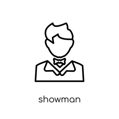Showman icon. Trendy modern flat linear vector Showman icon on white background from thin line Professions collection, editable outline stroke vector illustration