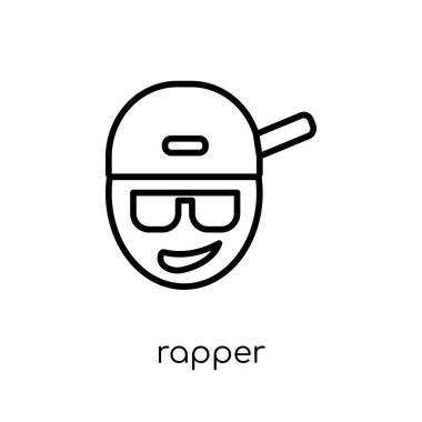 Rapper icon. Trendy modern flat linear vector Rapper icon on white background from thin line United States of America collection, editable outline stroke vector illustration