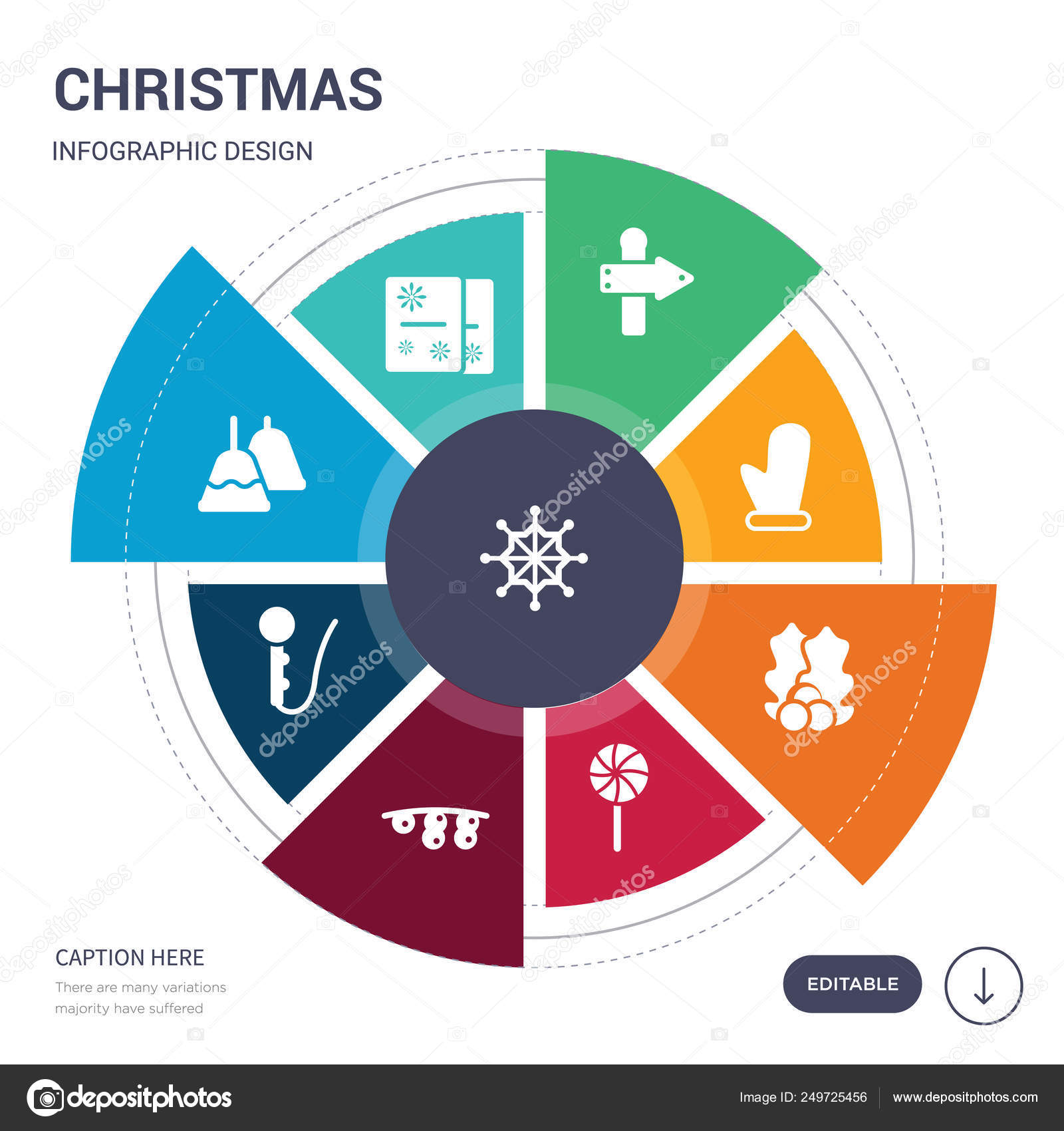 Set Of 9 Simple Christmas Vector Icons Contains Such As Ice