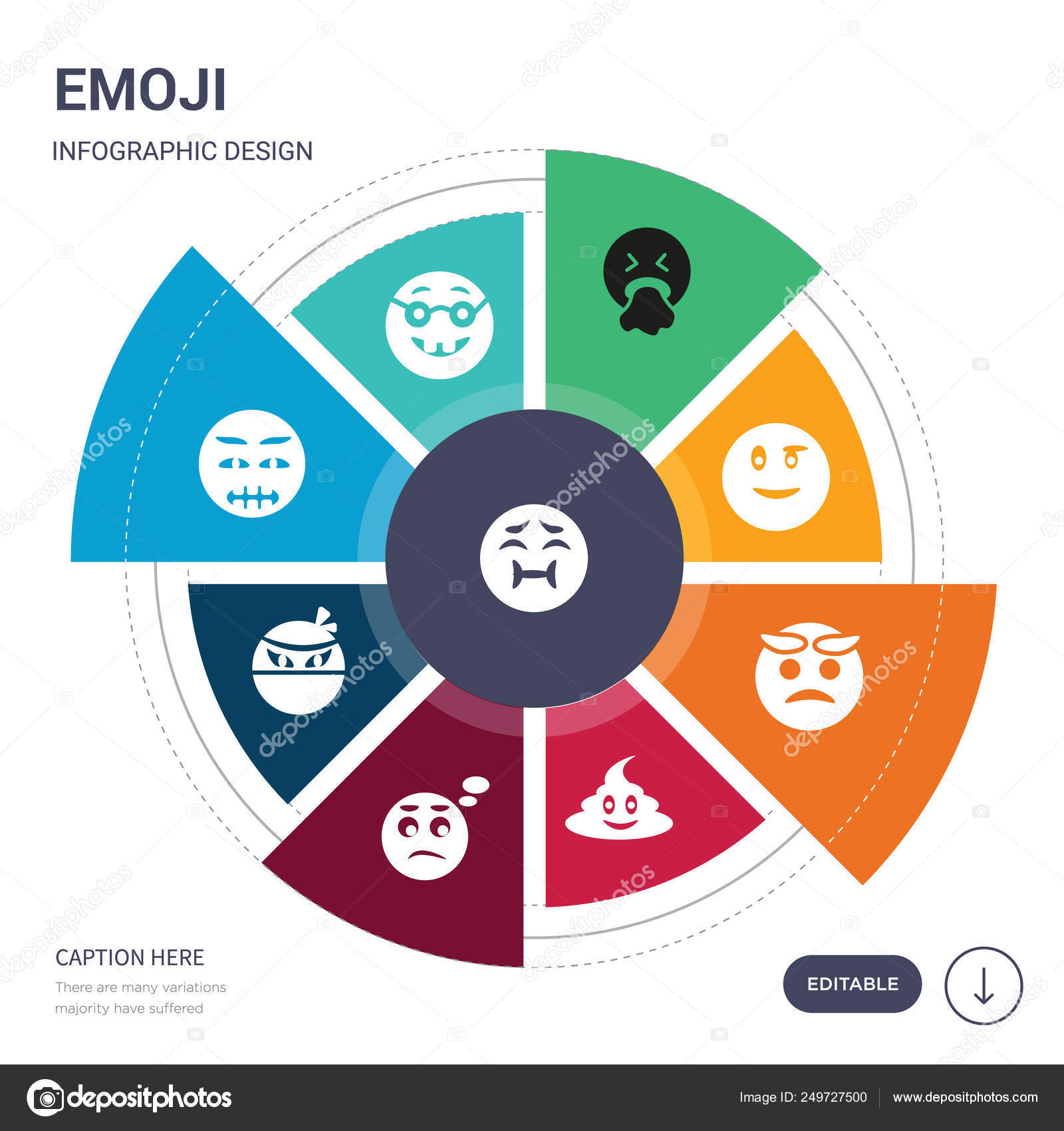 set of 9 simple emoji vector icons  contains such as nauseated emoji