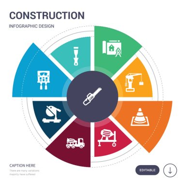 set of 9 simple construction vector icons. contains such as chainsaw, chisel, circuit breaker, circular saw, concrete, concrete mixer, cone icons and others. editable infographics design