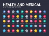 Photo 50 health and medical set icons such as ambulance, ampoule, antibiotics, band aid, blood, blood donation, blood drop, pressure, pressure gauge. simple modern isolated vector icons can be use for web