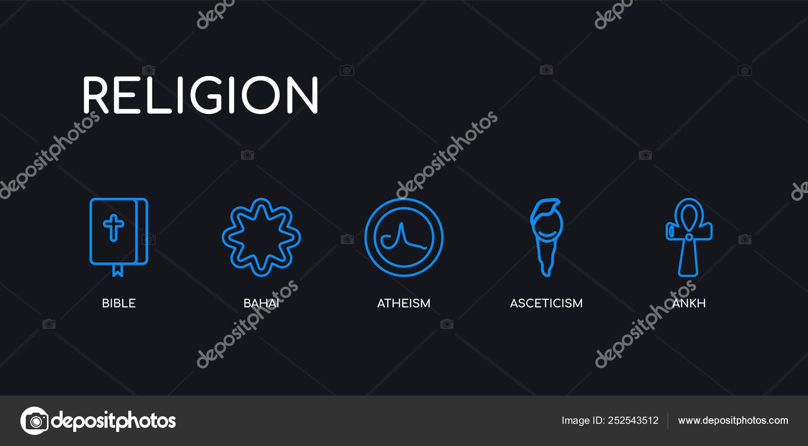 5 outline stroke blue ankh, asceticism, atheism, bahai