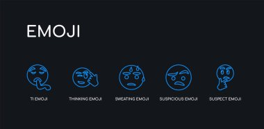 5 outline stroke blue suspect emoji, suspicious emoji, sweating emoji, thinking ti icons from collection on black background. line editable linear thin icons.