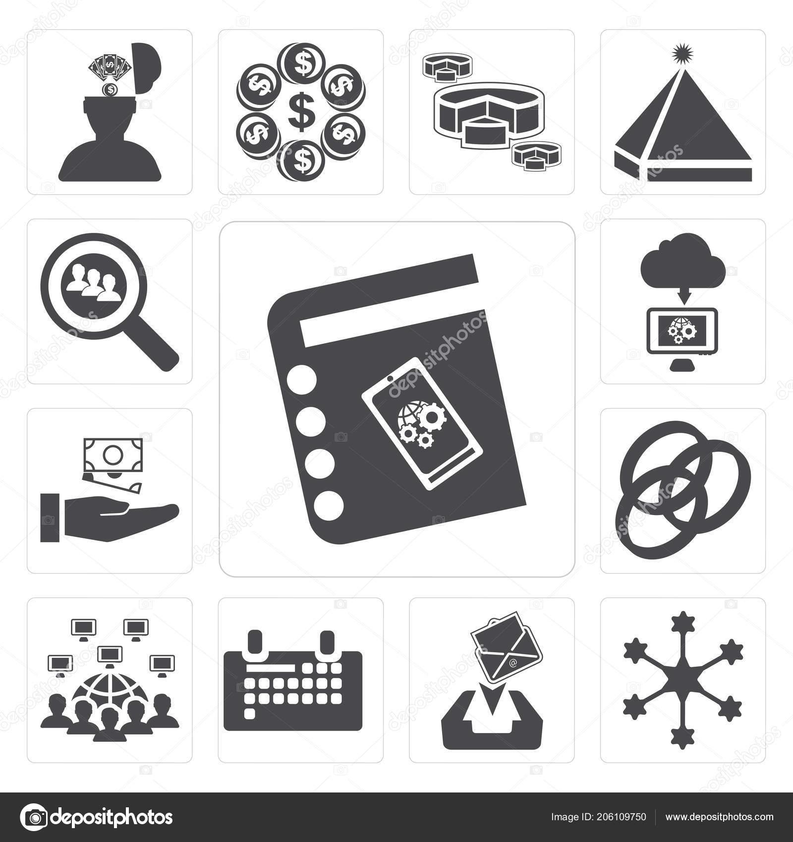 depositphotos_206109750 stock photo set simple editable icons agenda set simple editable icons agenda diagram receive calendar networking