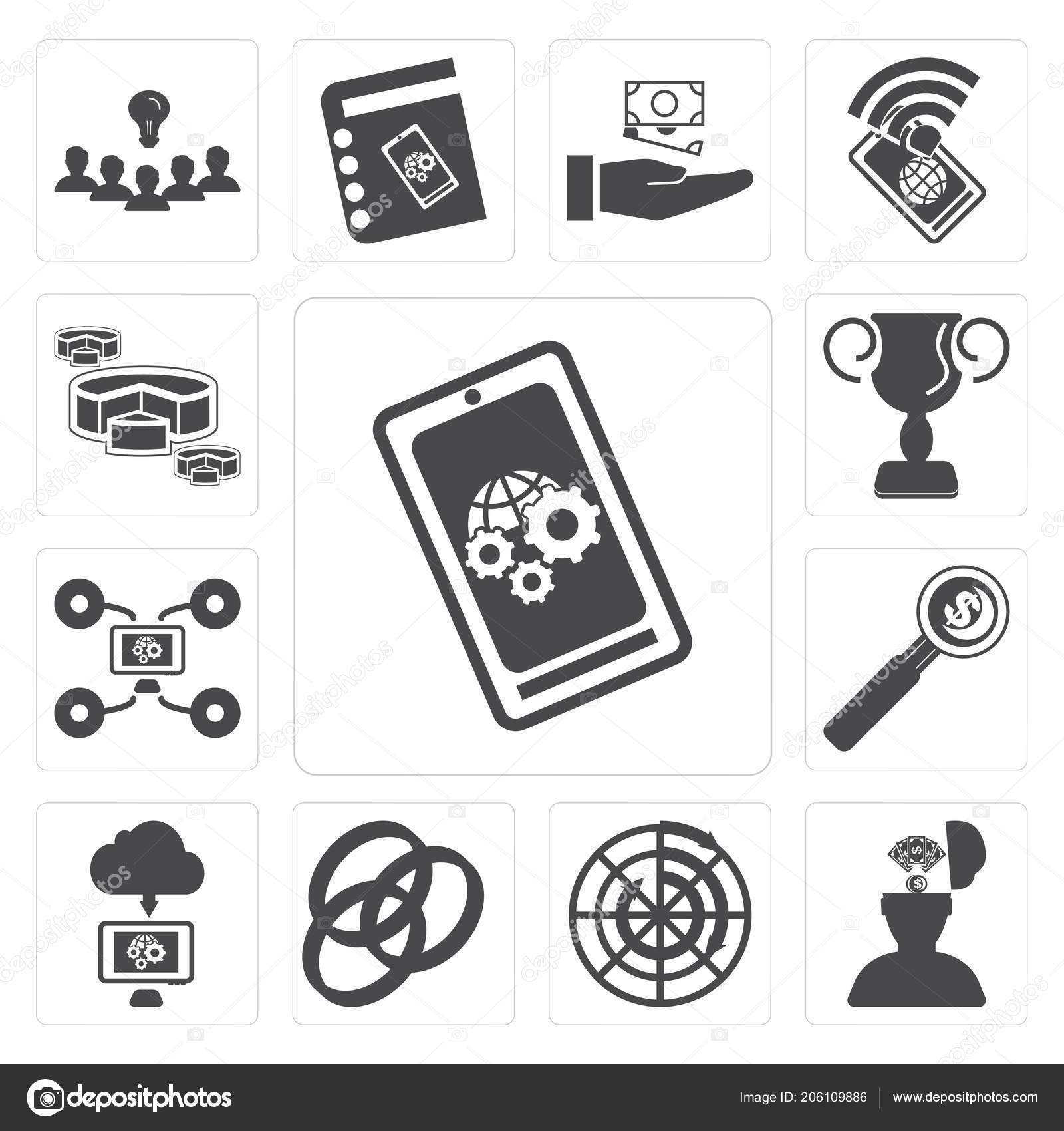 set simple editable icons smartphone idea diagram rgb cloud computing —  stock photo