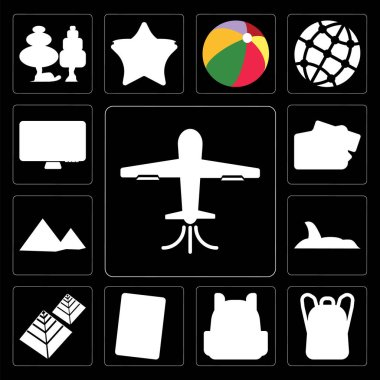 Set Of 13 simple editable icons such as Plane, Backpack, Phone, Pyramid, Shark, Purse, Computer on black background