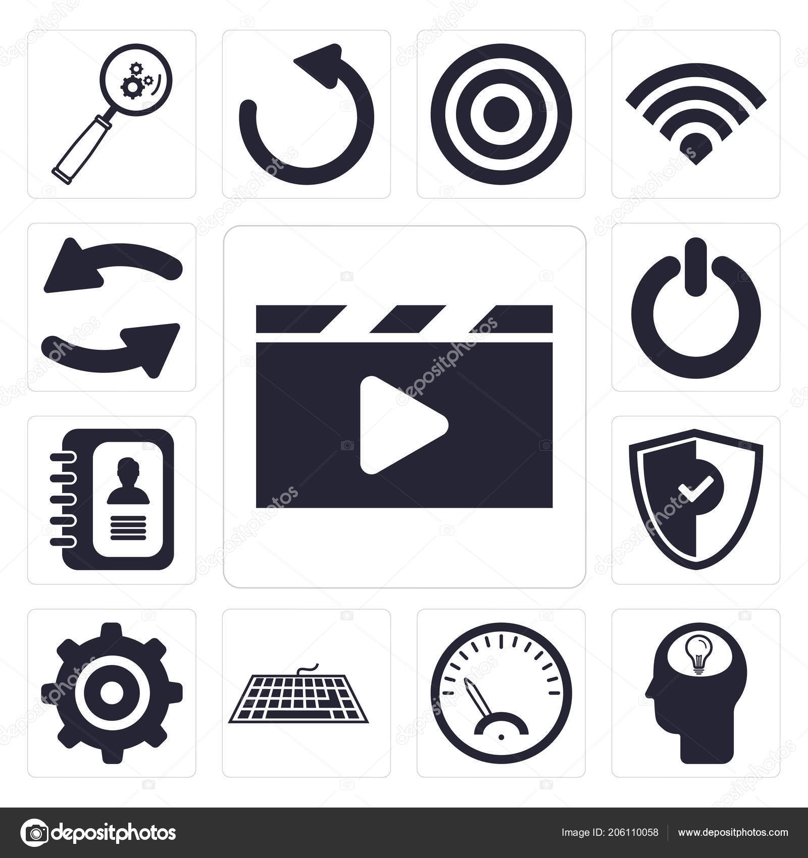 Set Simple Editable Icons Video Player Head Speedometer