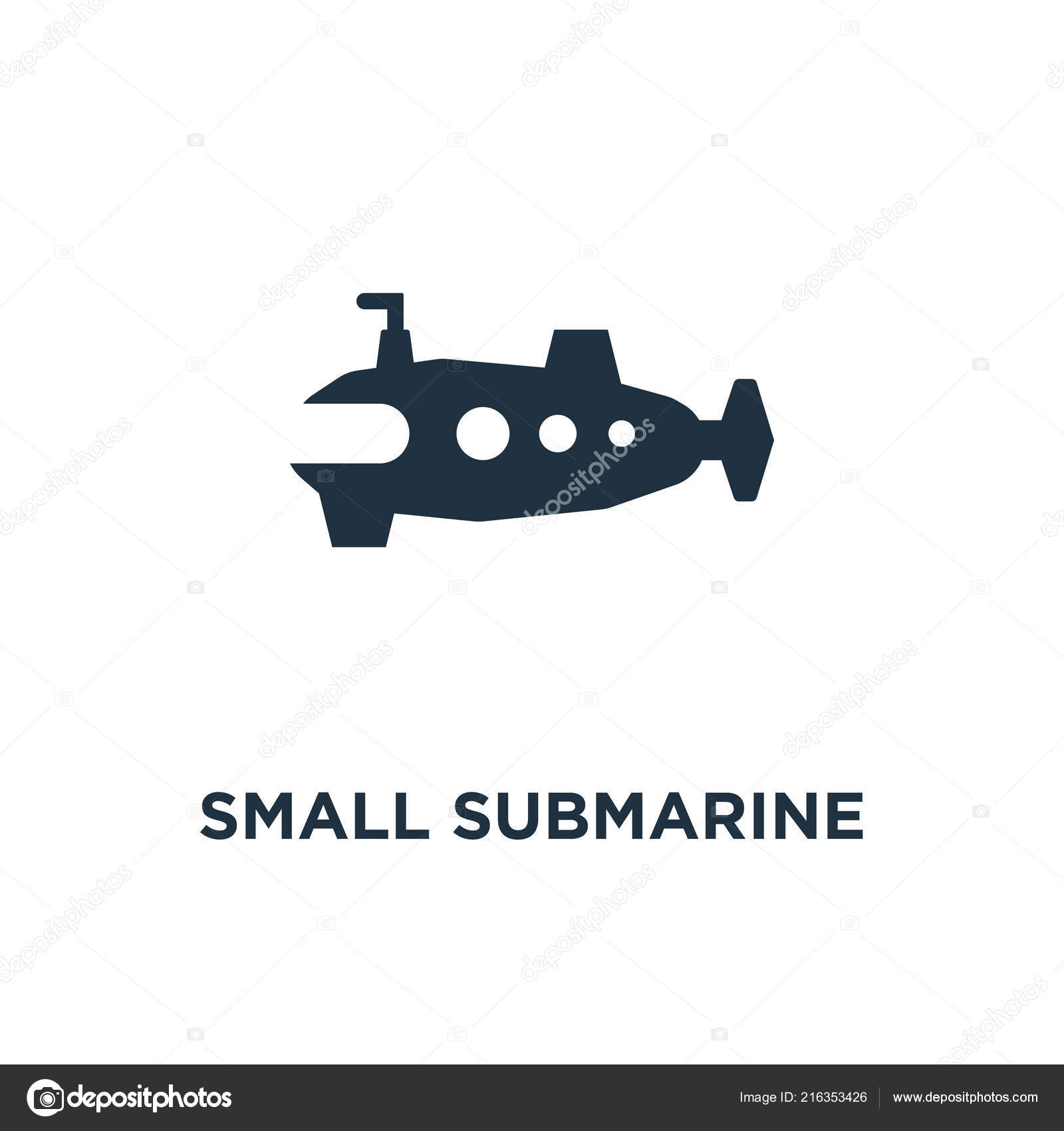 Small Submarine Icon Black Filled Vector Illustration Small