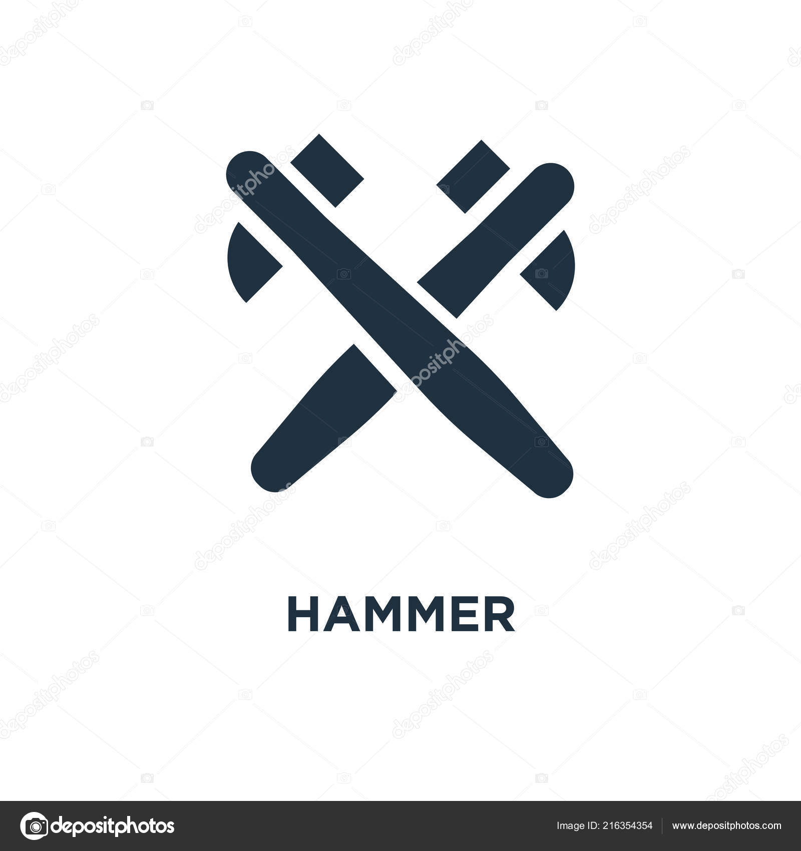 Hammer Icon Black Filled Vector Illustration Hammer Symbol White