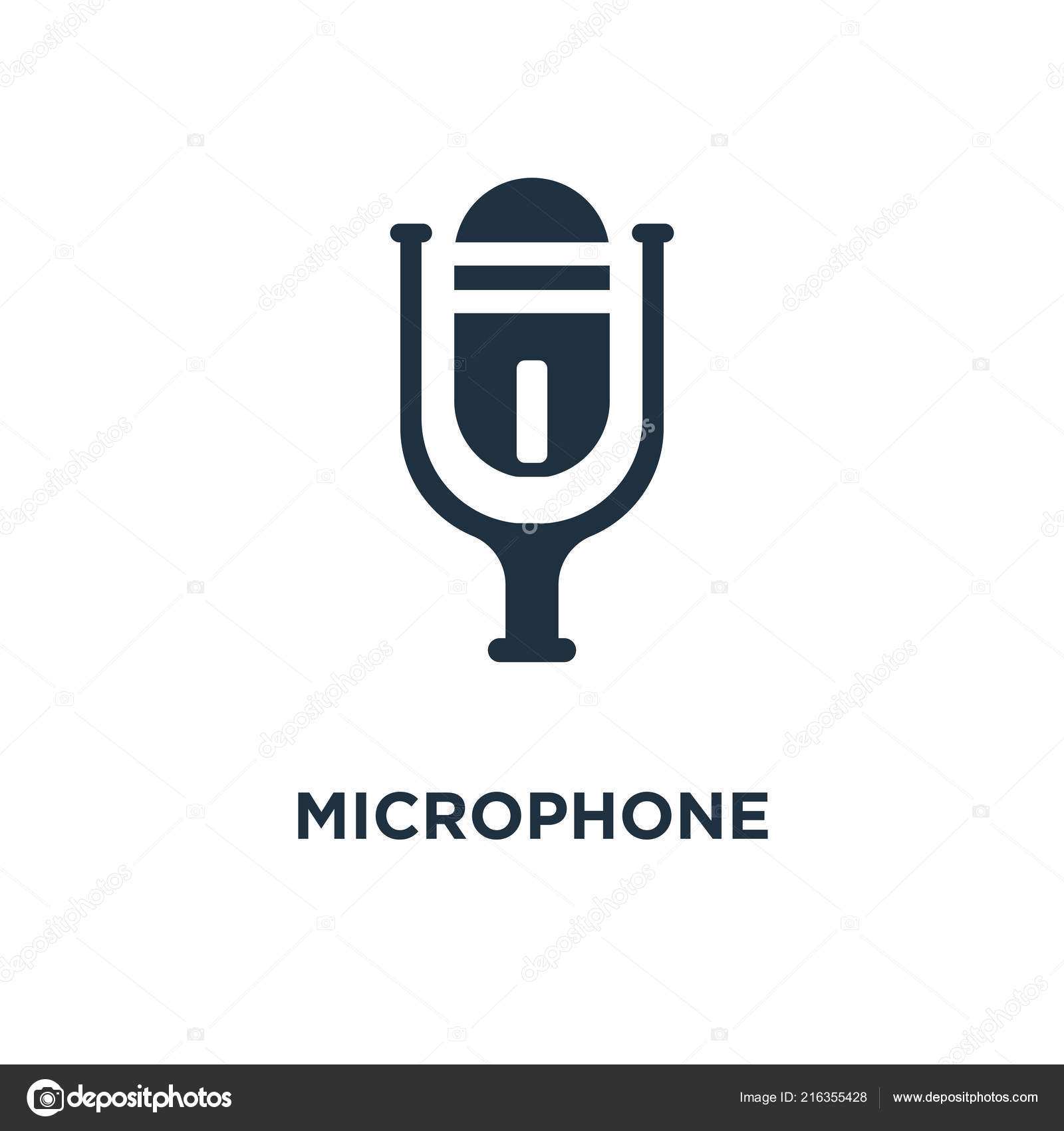 Microphone Icon Black Filled Vector Illustration Microphone Symbol
