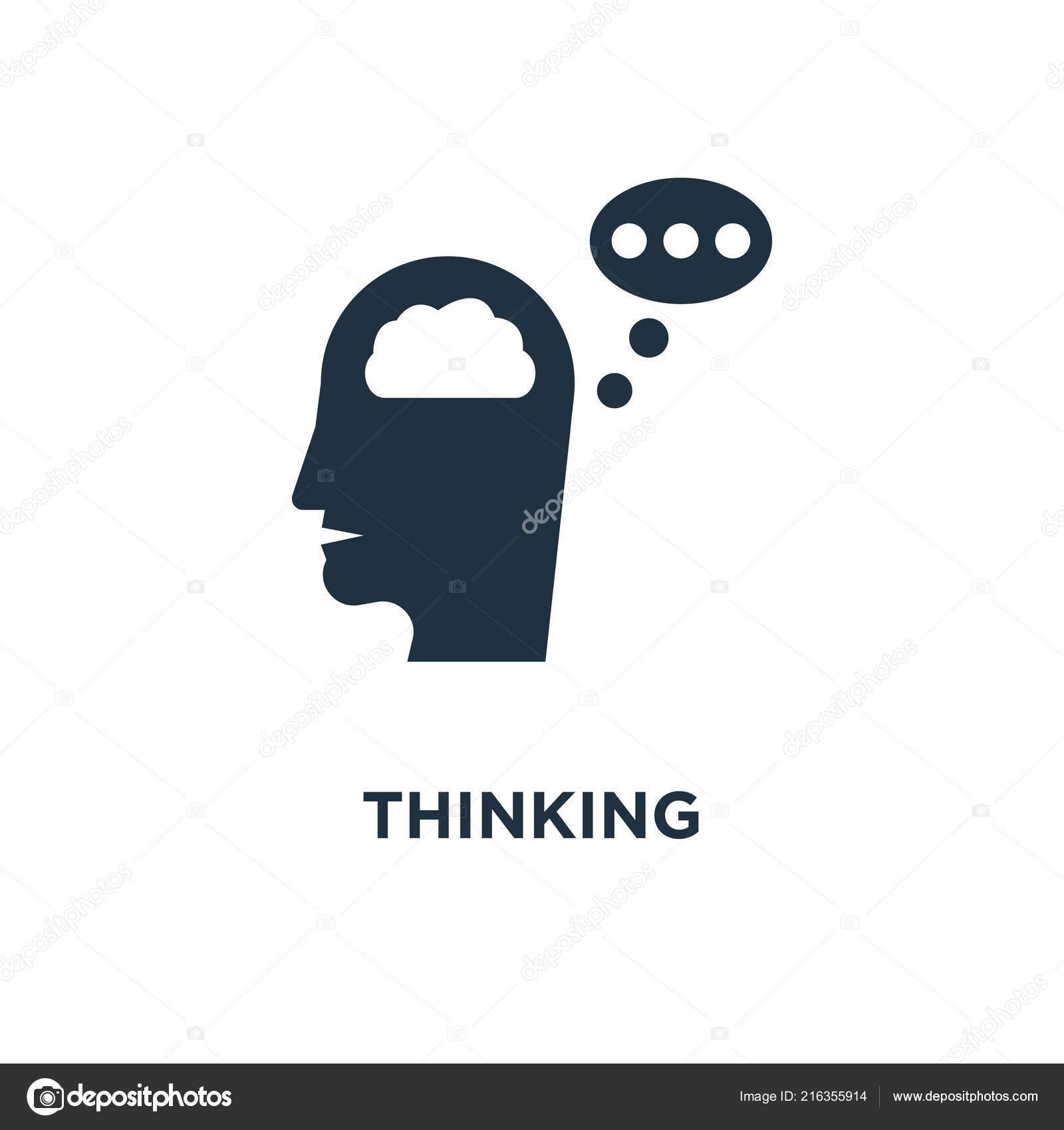 Thinking Icon Black Filled Vector Illustration Thinking Symbol White
