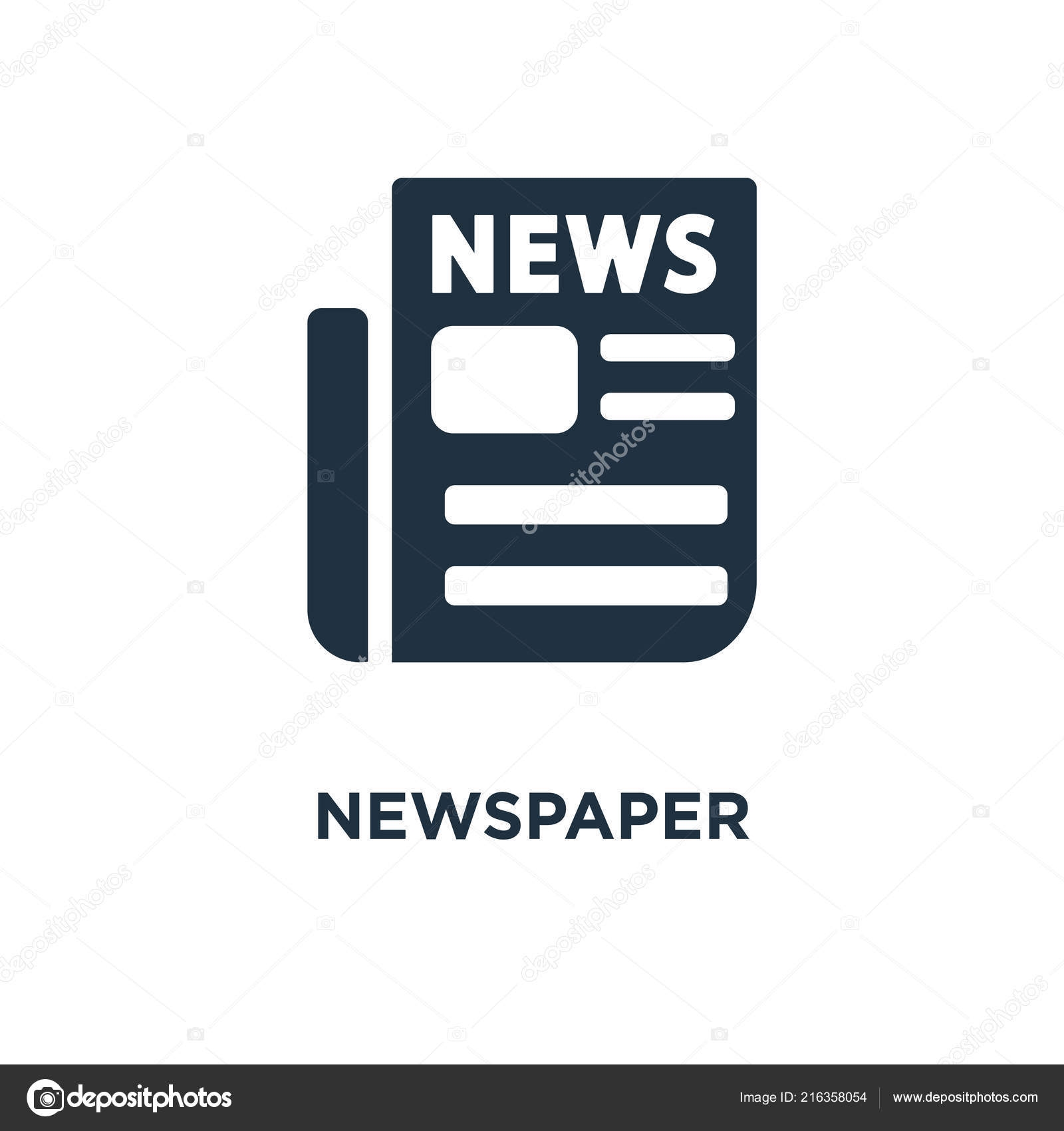 newspaper icon black filled vector illustration newspaper symbol