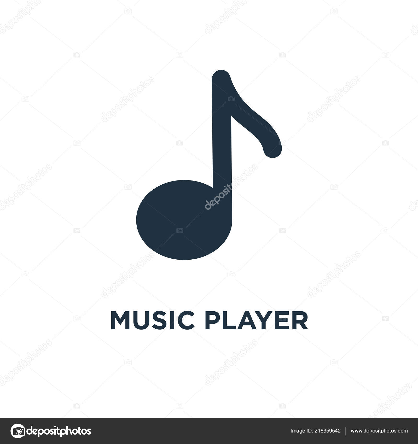 Music Player Icon Black Filled Vector Illustration Music