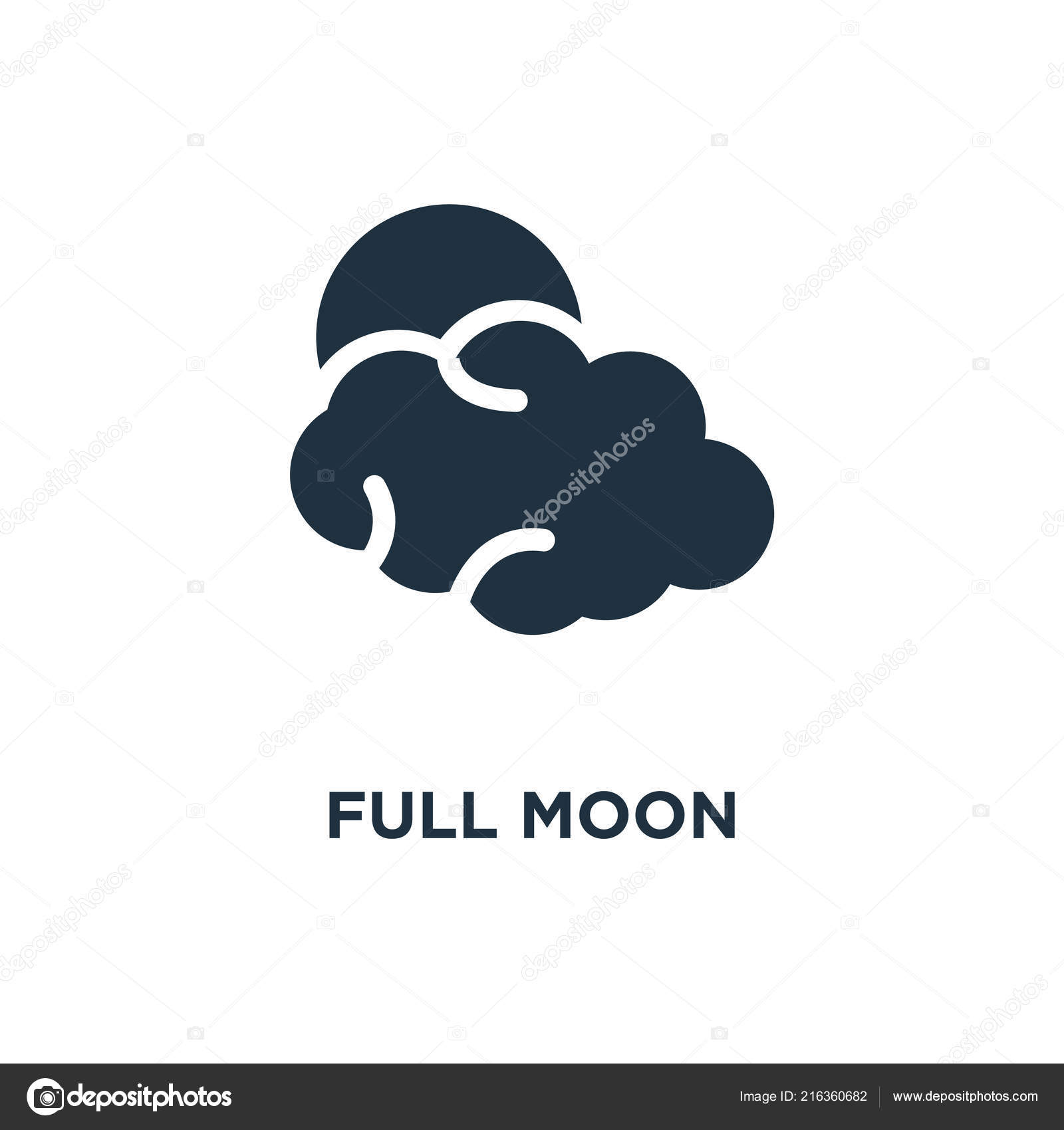 Full Moon Icon Black Filled Vector Illustration Full Moon Symbol