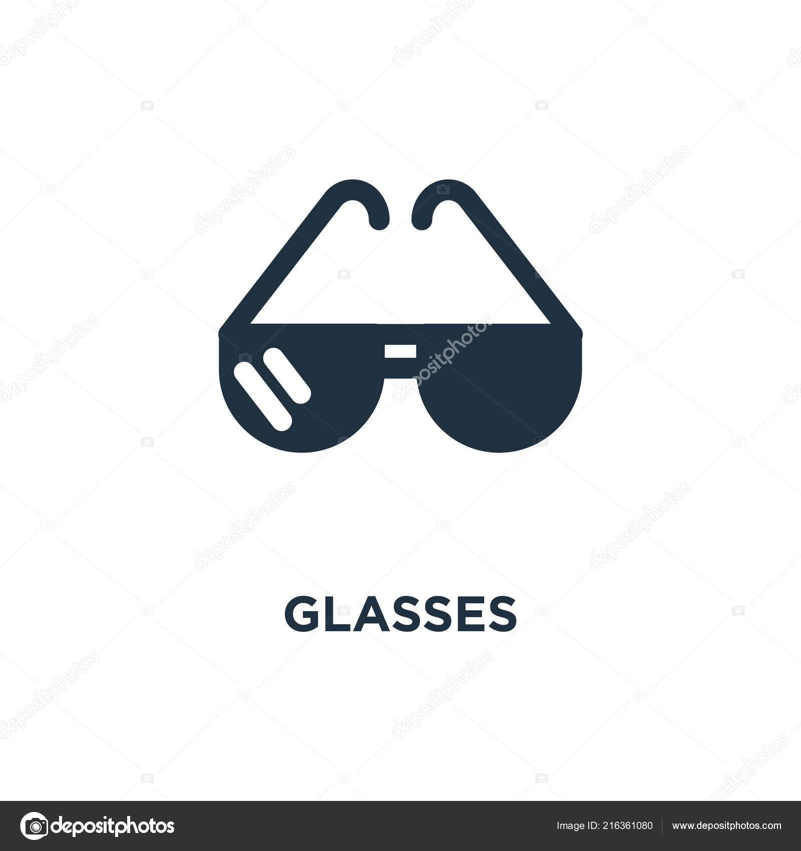 Glasses Icon Black Filled Vector Illustration Glasses Symbol White