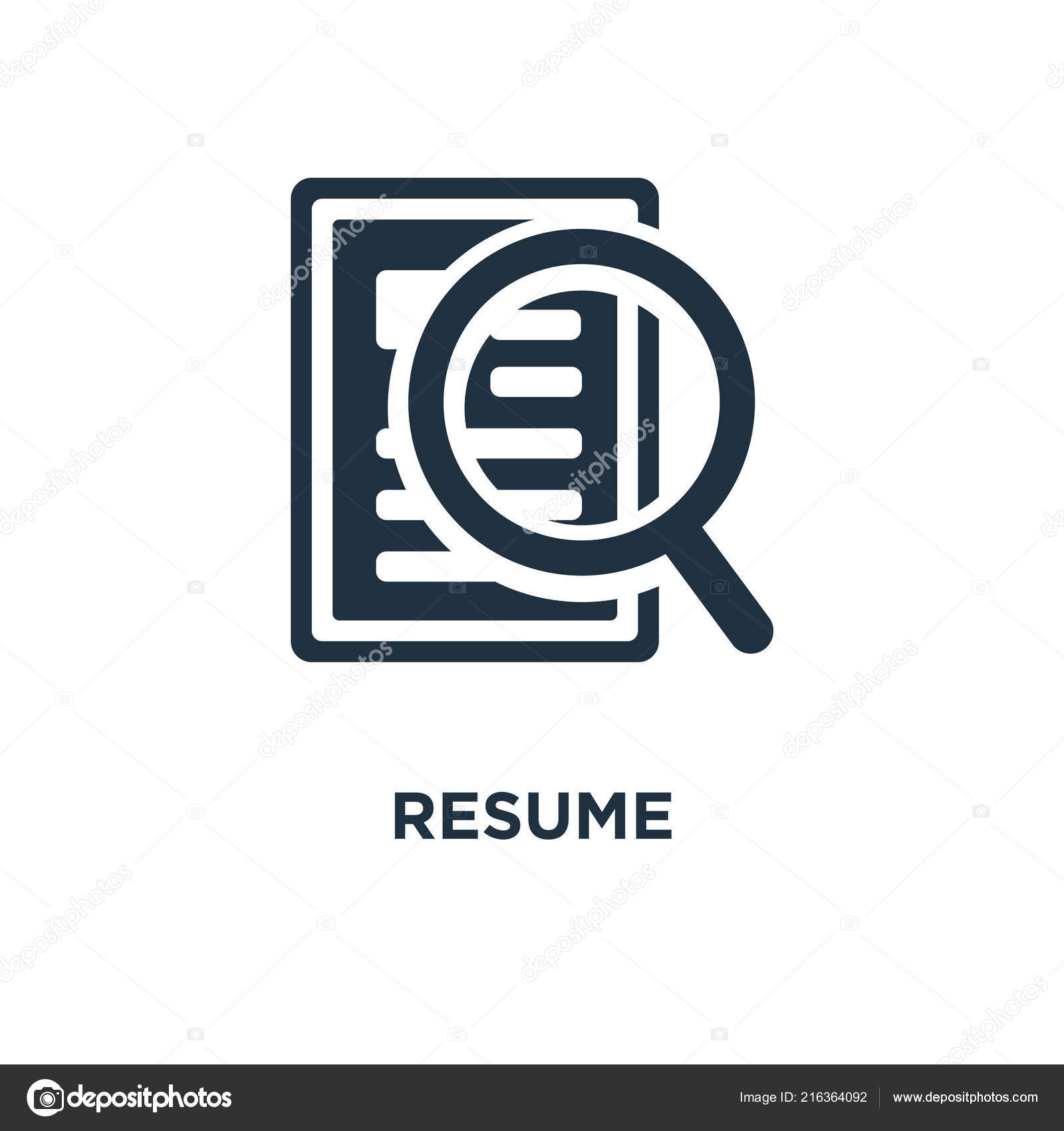 Resume Icon Black Filled Vector Illustration Resume Symbol ...