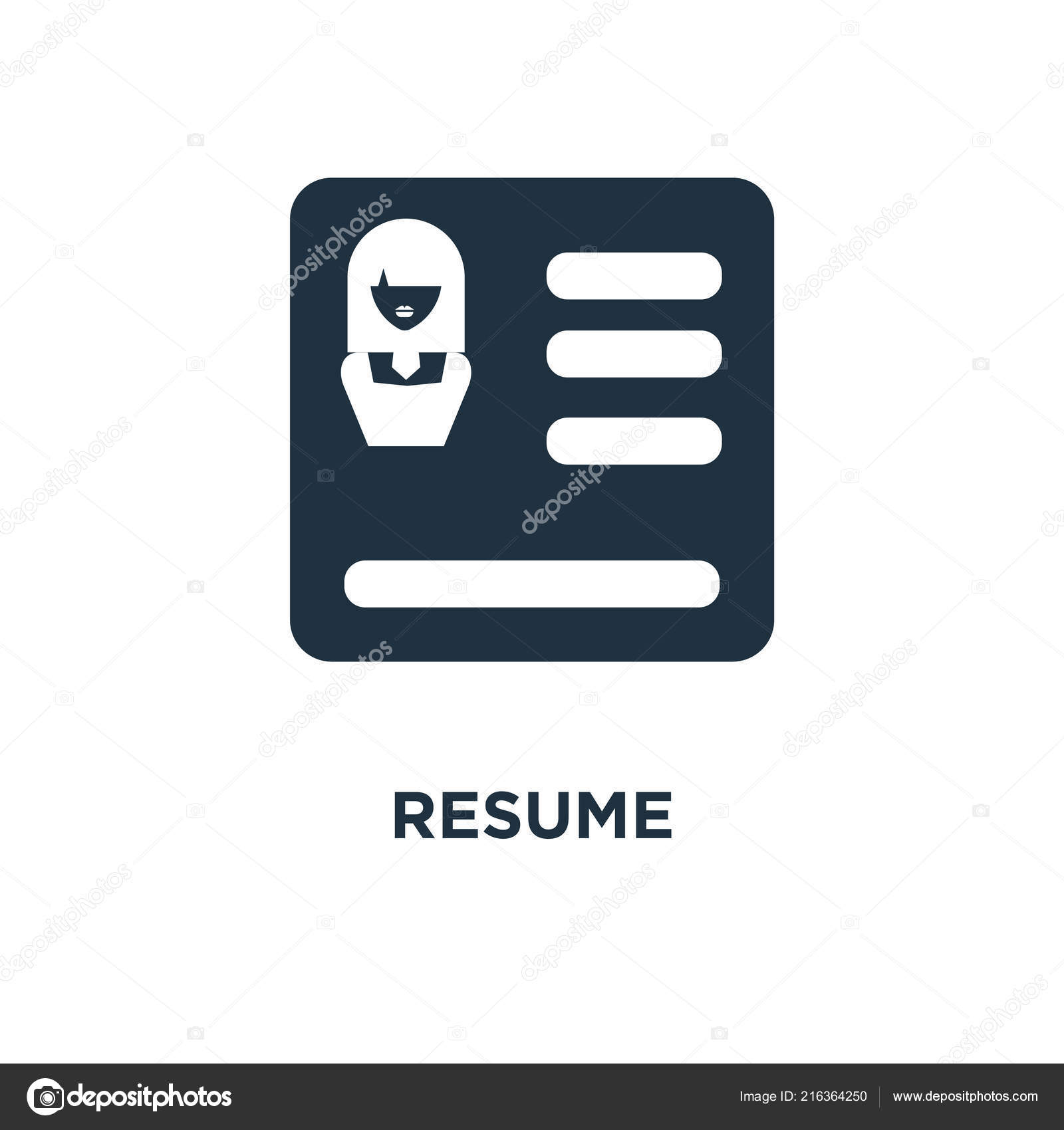 Resume Icon Black Filled Vector Illustration Resume Symbol White ...