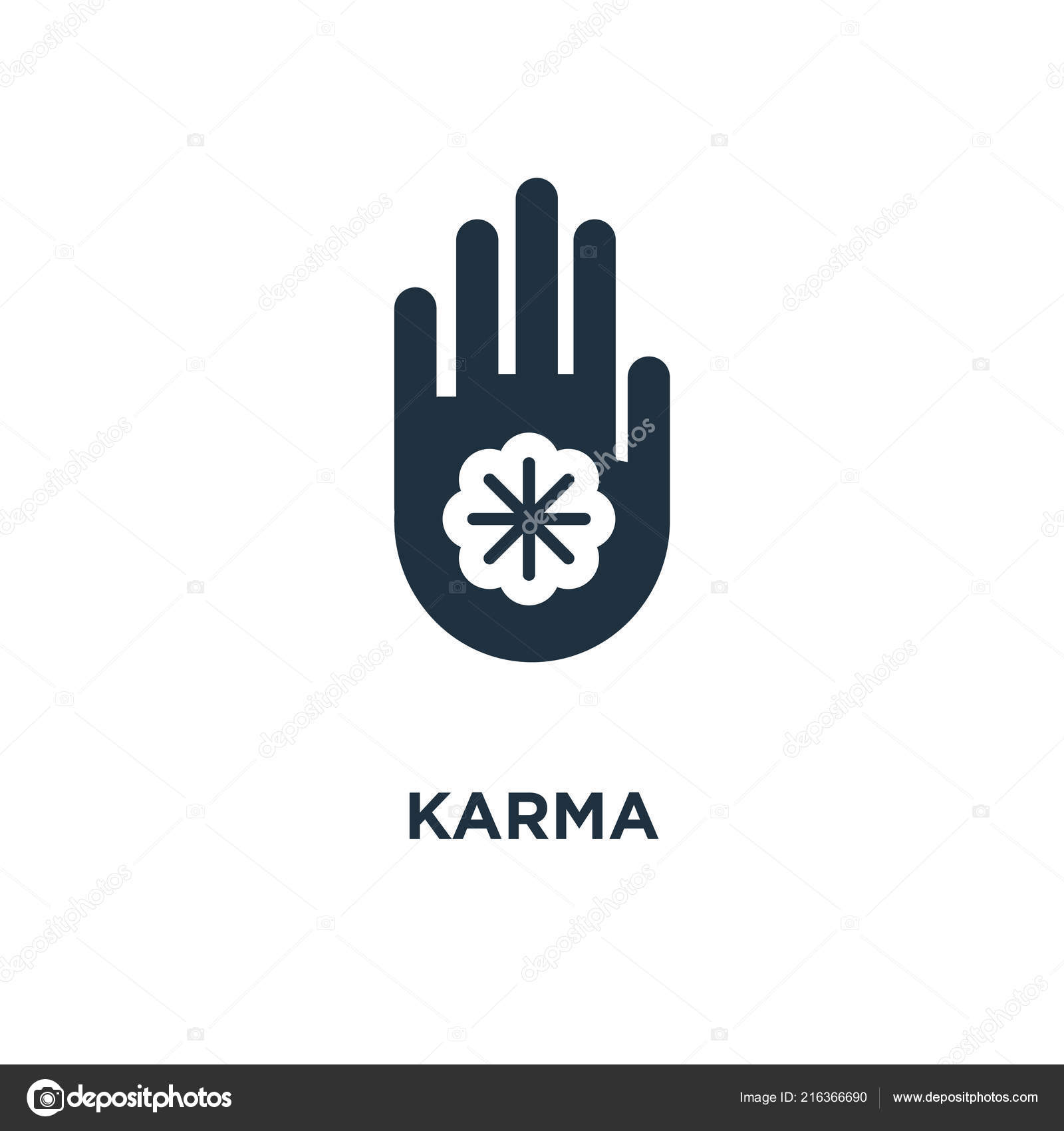 Karma Icon Black Filled Vector Illustration Karma Symbol White