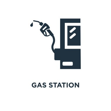 Gas station icon. Black filled vector illustration. Gas station symbol on white background. Can be used in web and mobile.