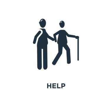 help icon. Black filled vector illustration. help symbol on white background. Can be used in web and mobile.
