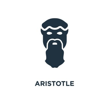 Aristotle icon. Black filled vector illustration. Aristotle symbol on white background. Can be used in web and mobile.