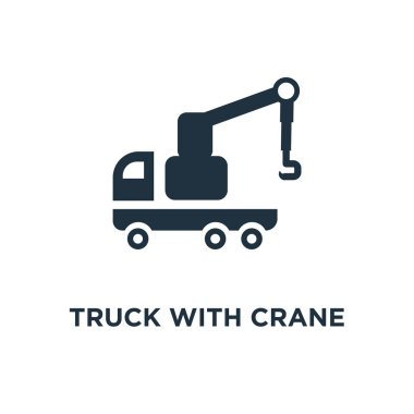 Truck with Crane icon. Black filled vector illustration. Truck with Crane symbol on white background. Can be used in web and mobile.