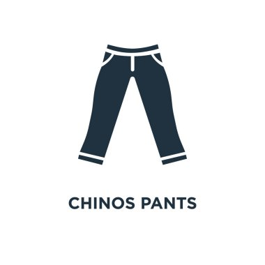 Chinos Pants icon. Black filled vector illustration. Chinos Pants symbol on white background. Can be used in web and mobile.
