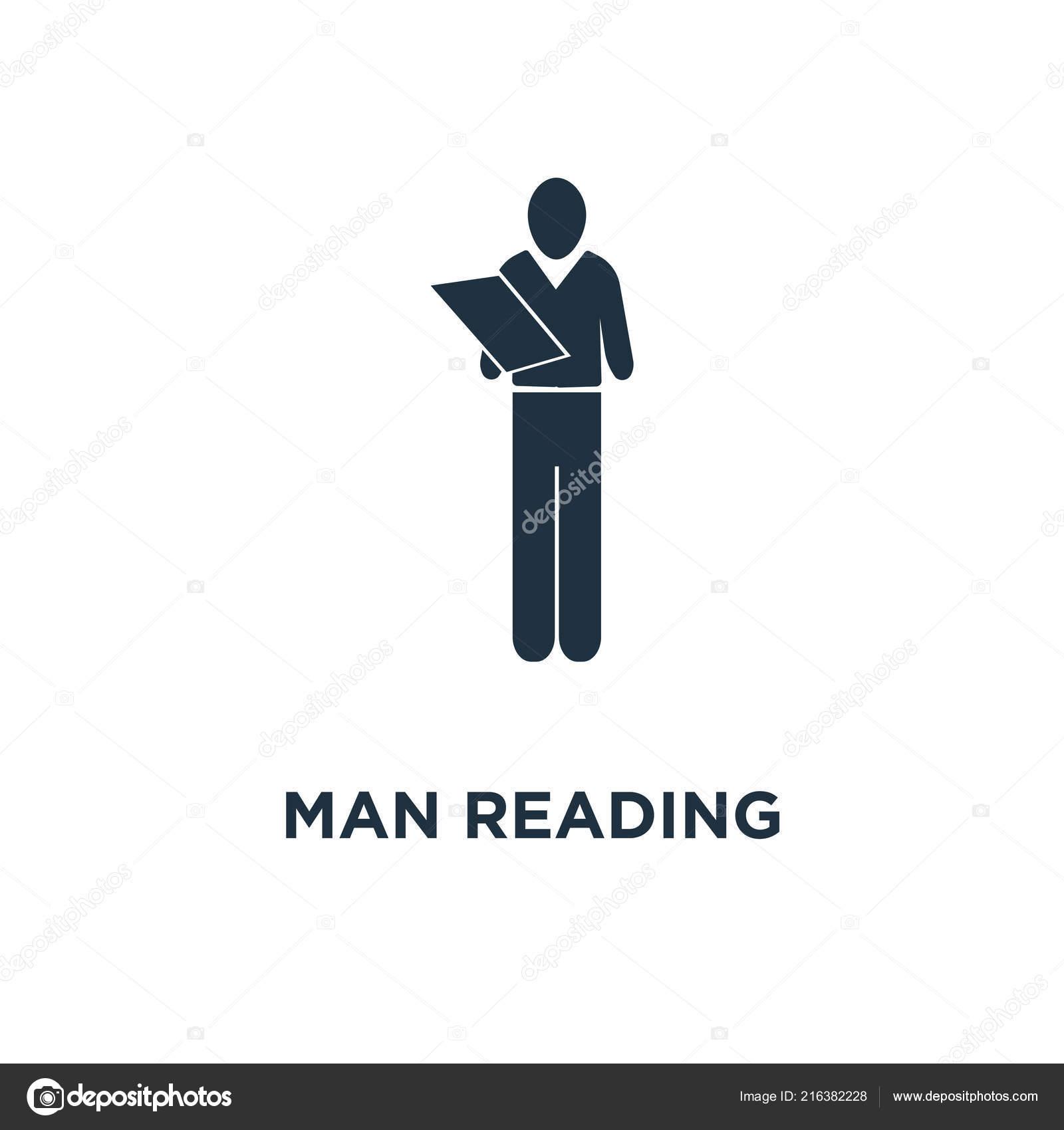 man reading newspaper icon black filled vector illustration man