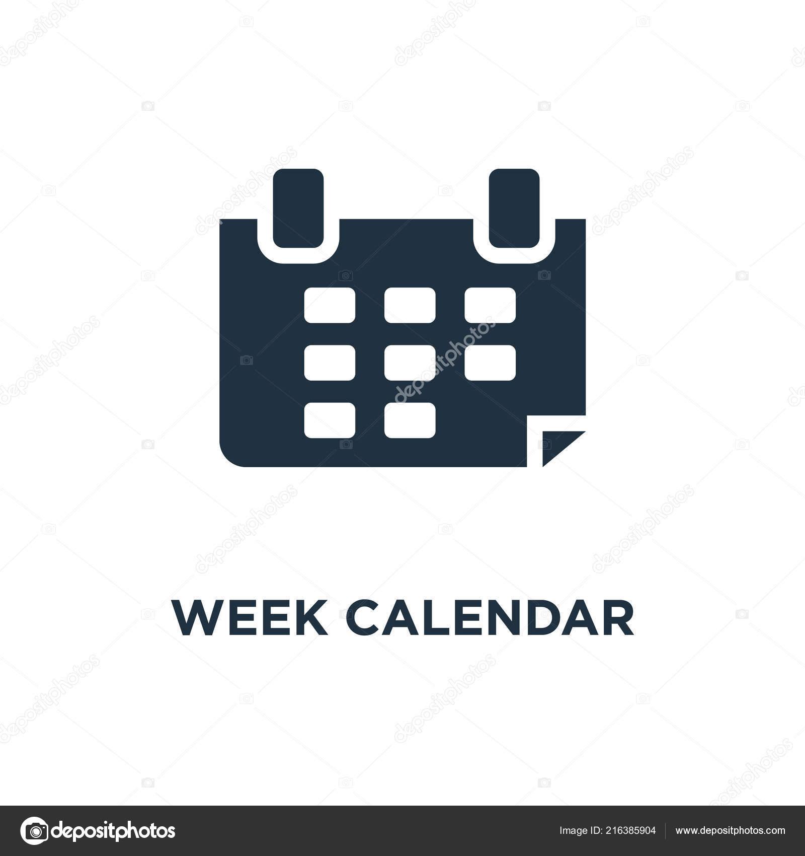Simbolo De Calendario.Icona Del Calendario Settimana Nero Riempito Vettore Simbolo