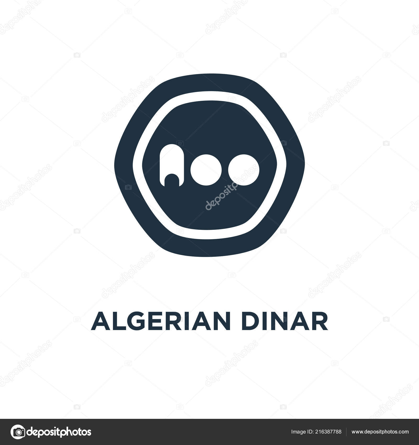 Algerian Dinar Icon Black Filled Vector Illustration