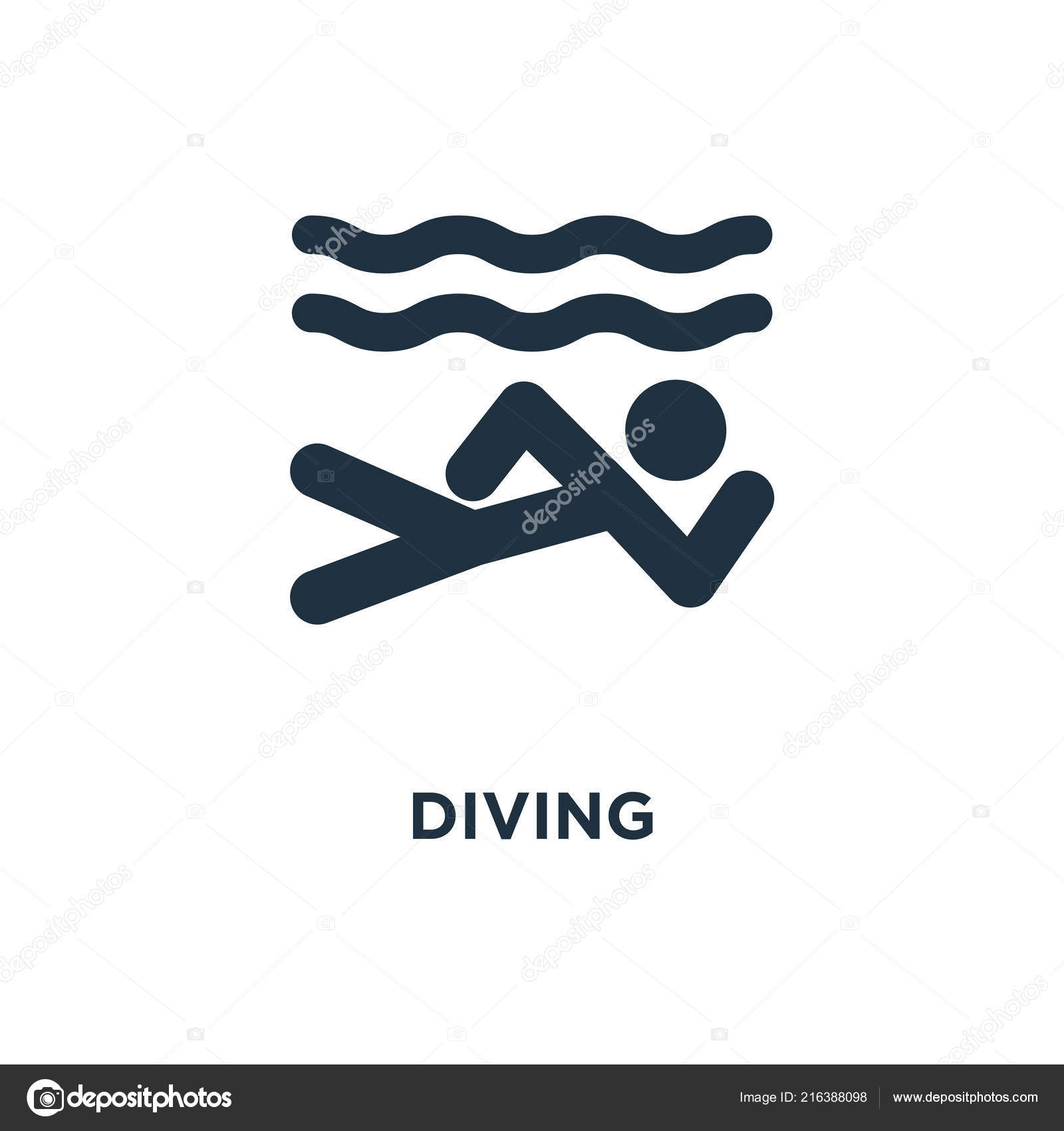 diving icon black filled vector illustration diving symbol white background stock vector c mmvector 216388098 depositphotos