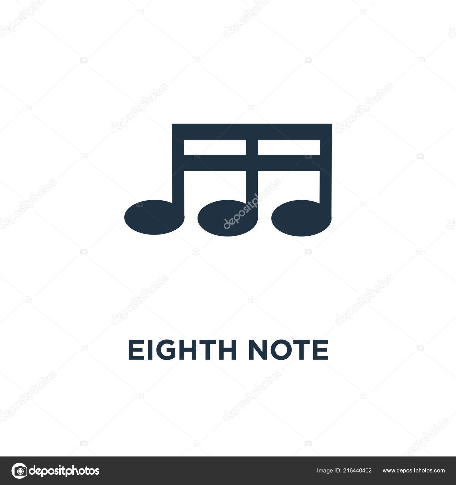 Eighth Note Icon Black Filled Vector Illustration Eighth Note Symbol