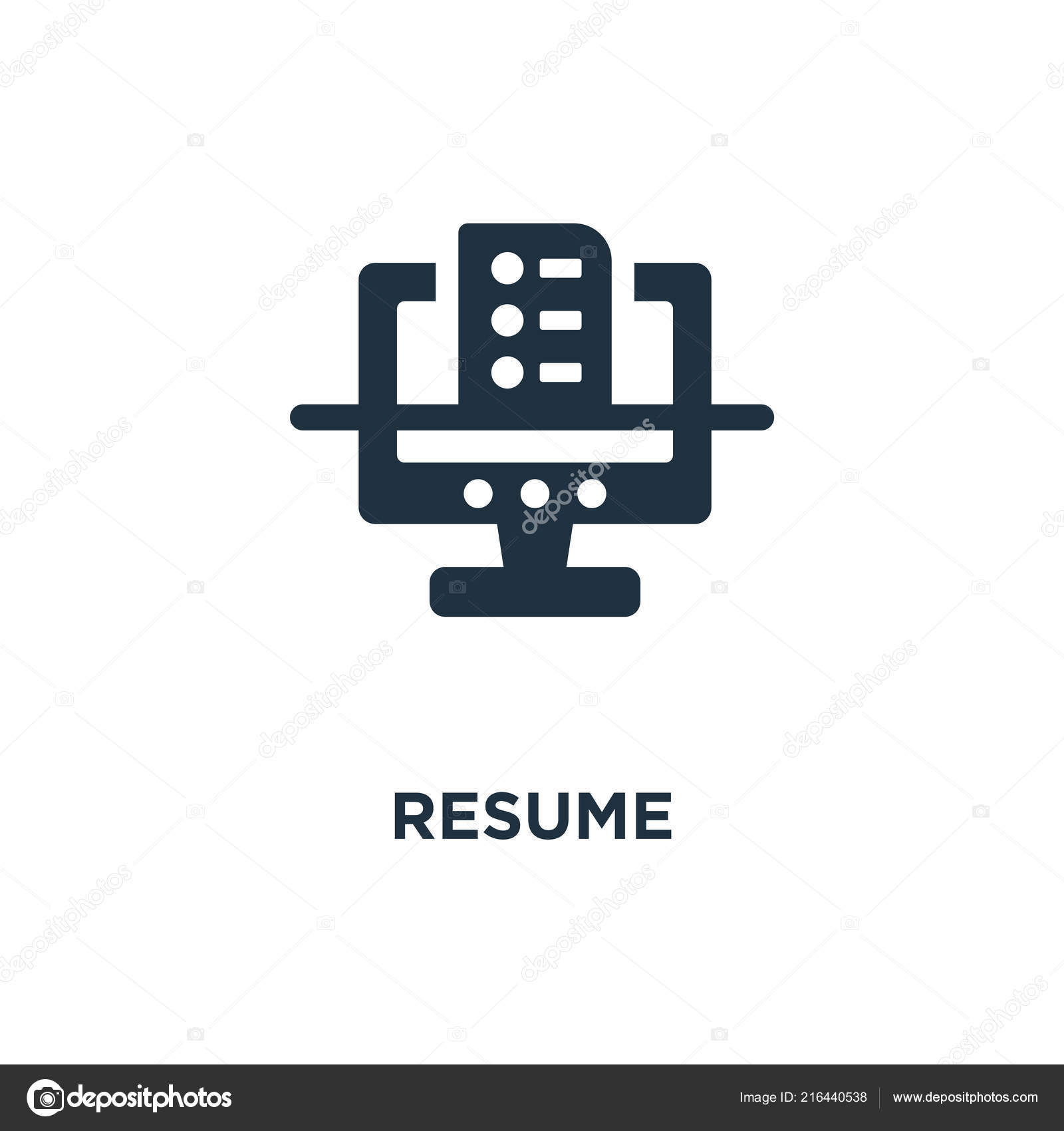 Resume Icon Black Filled Vector Illustration Resume Symbol White