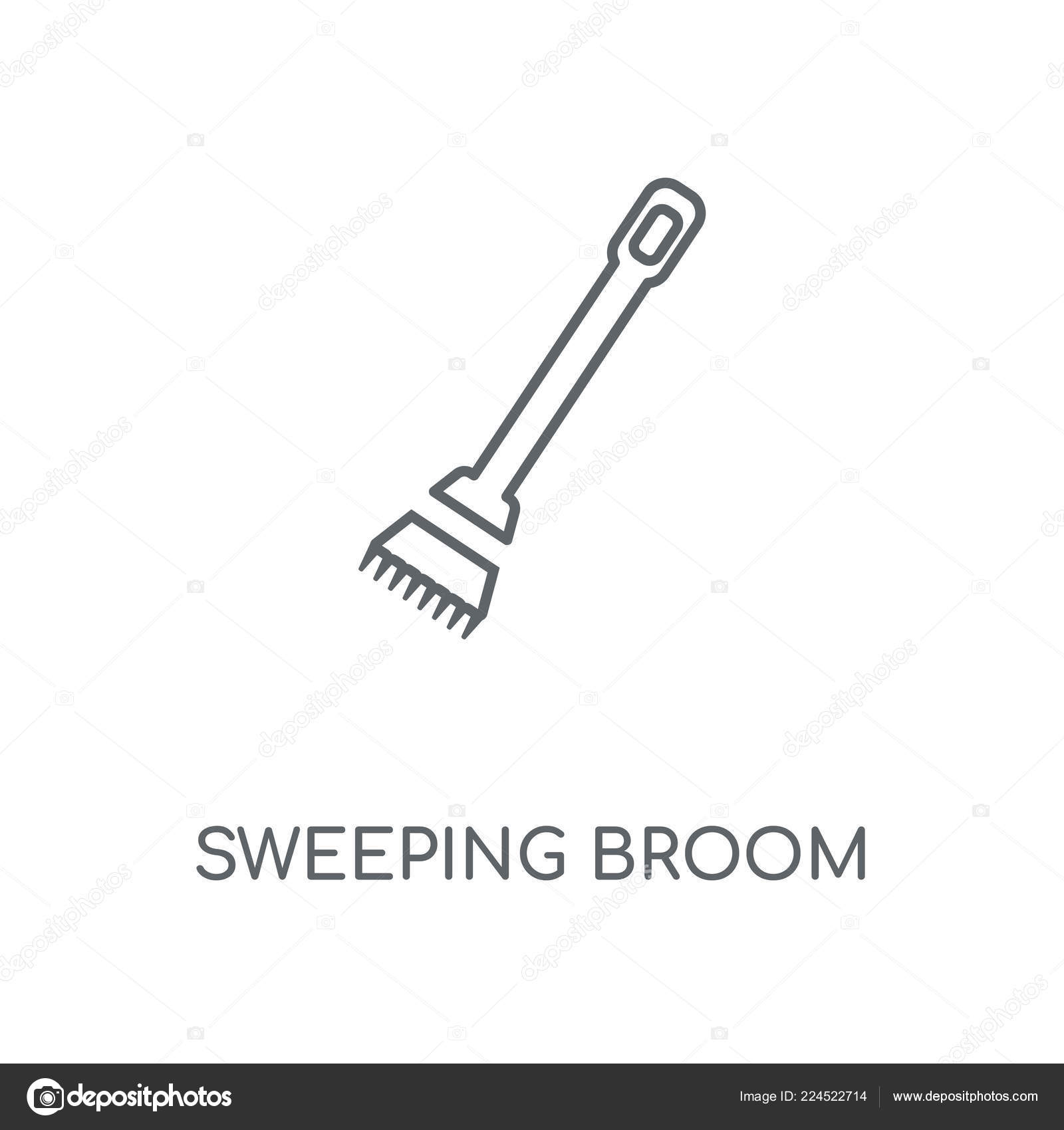 Sweeping Broom Linear Icon Sweeping Broom Concept Stroke