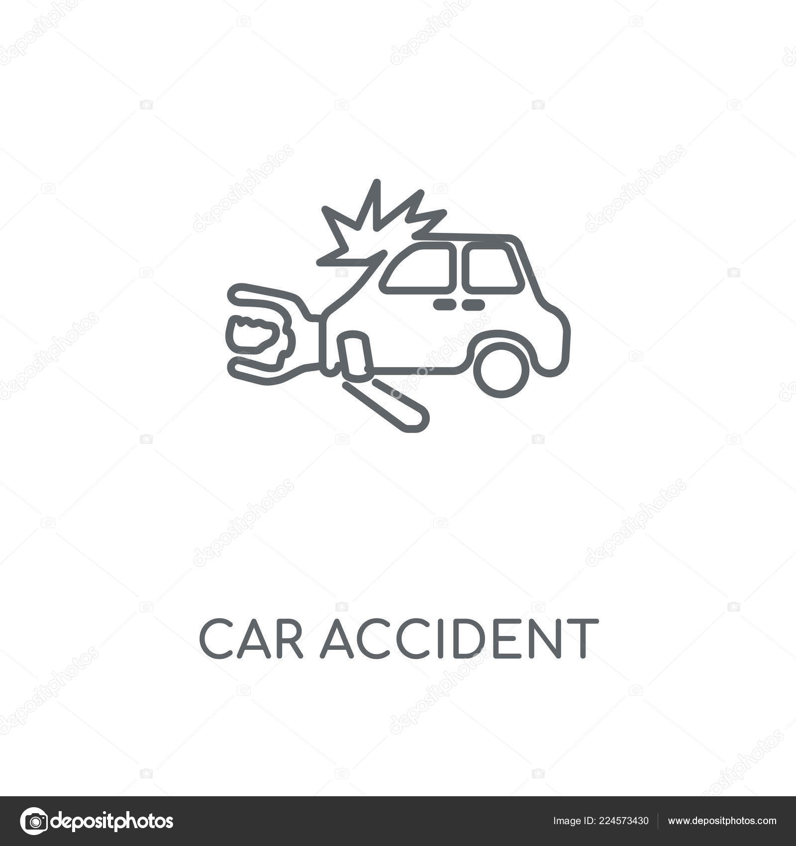 Car Accident Linear Icon Car Accident Concept Stroke Symbol Design
