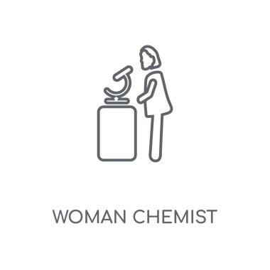 Woman Chemist linear icon. Woman Chemist concept stroke symbol design. Thin graphic elements vector illustration, outline pattern on a white background, eps 10.