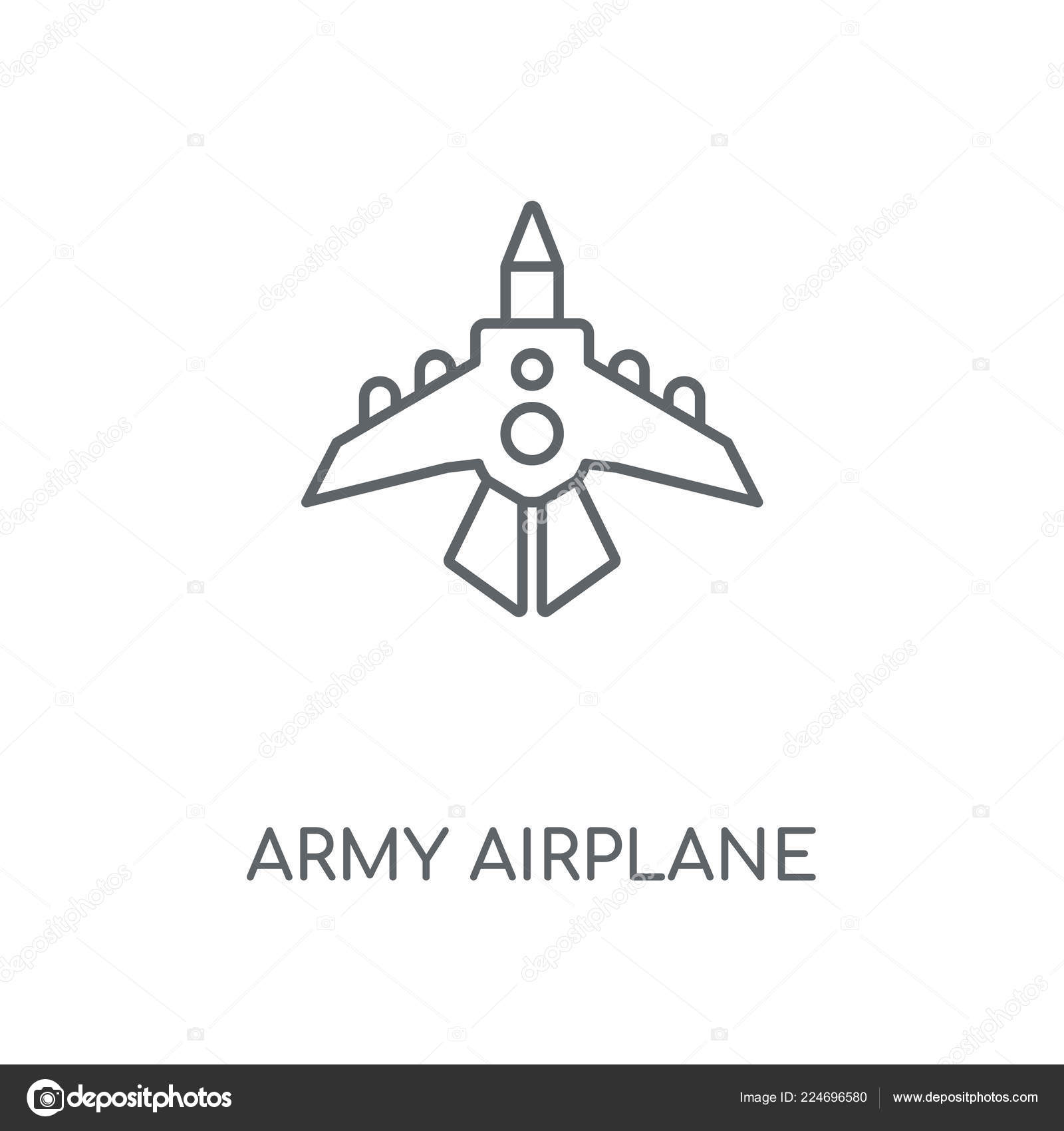 Army Airplane Linear Icon Army Airplane Concept Stroke Symbol Design