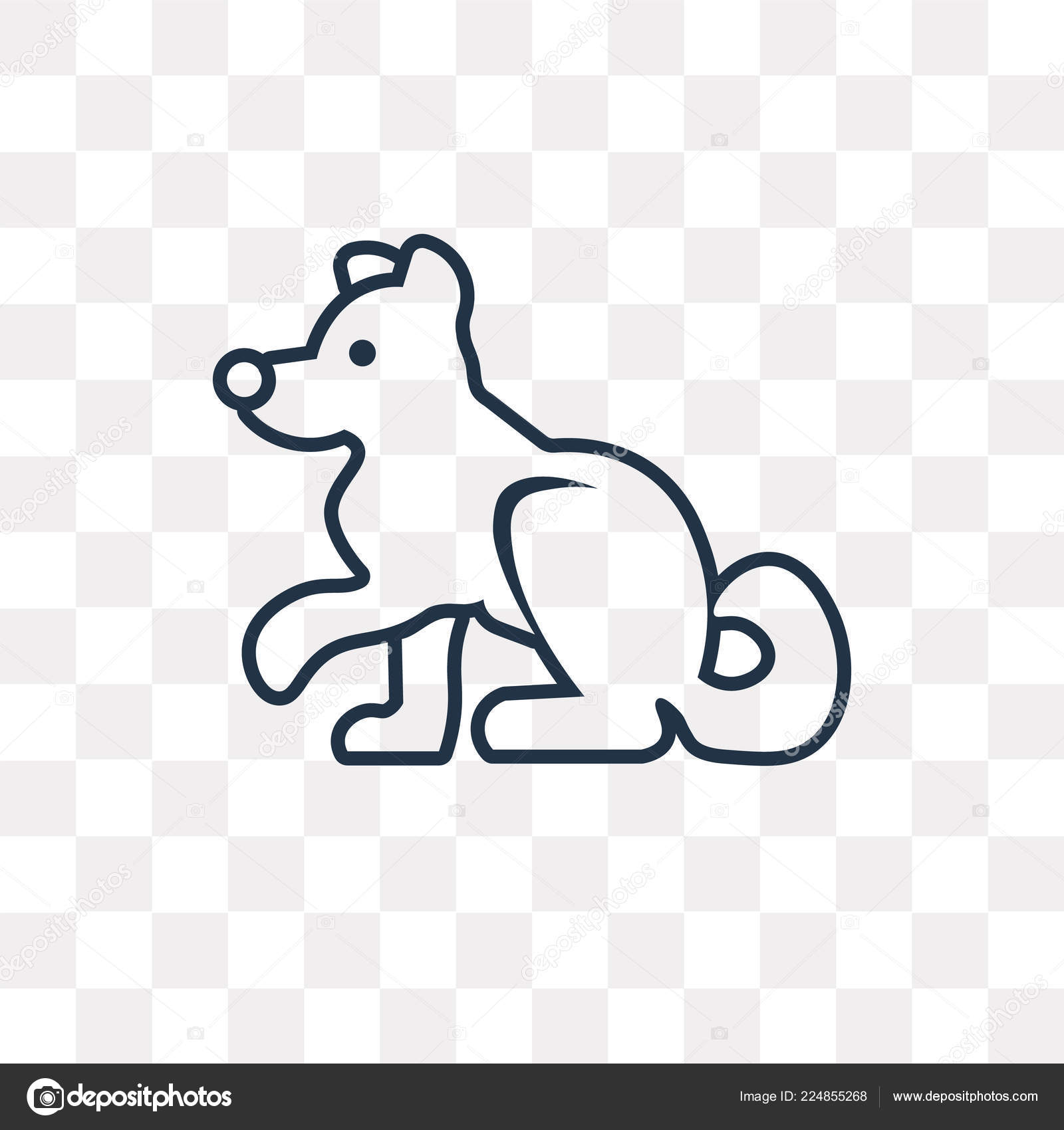 Siberian Husky Vector Outline Icon Isolated Transparent Background